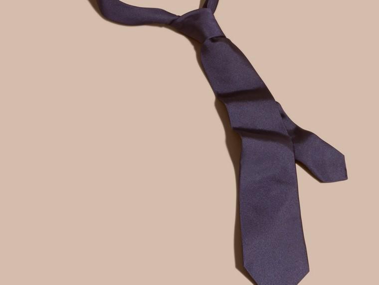 海軍藍 現代剪裁絲質斜紋領帶 海軍藍 - cell image 2