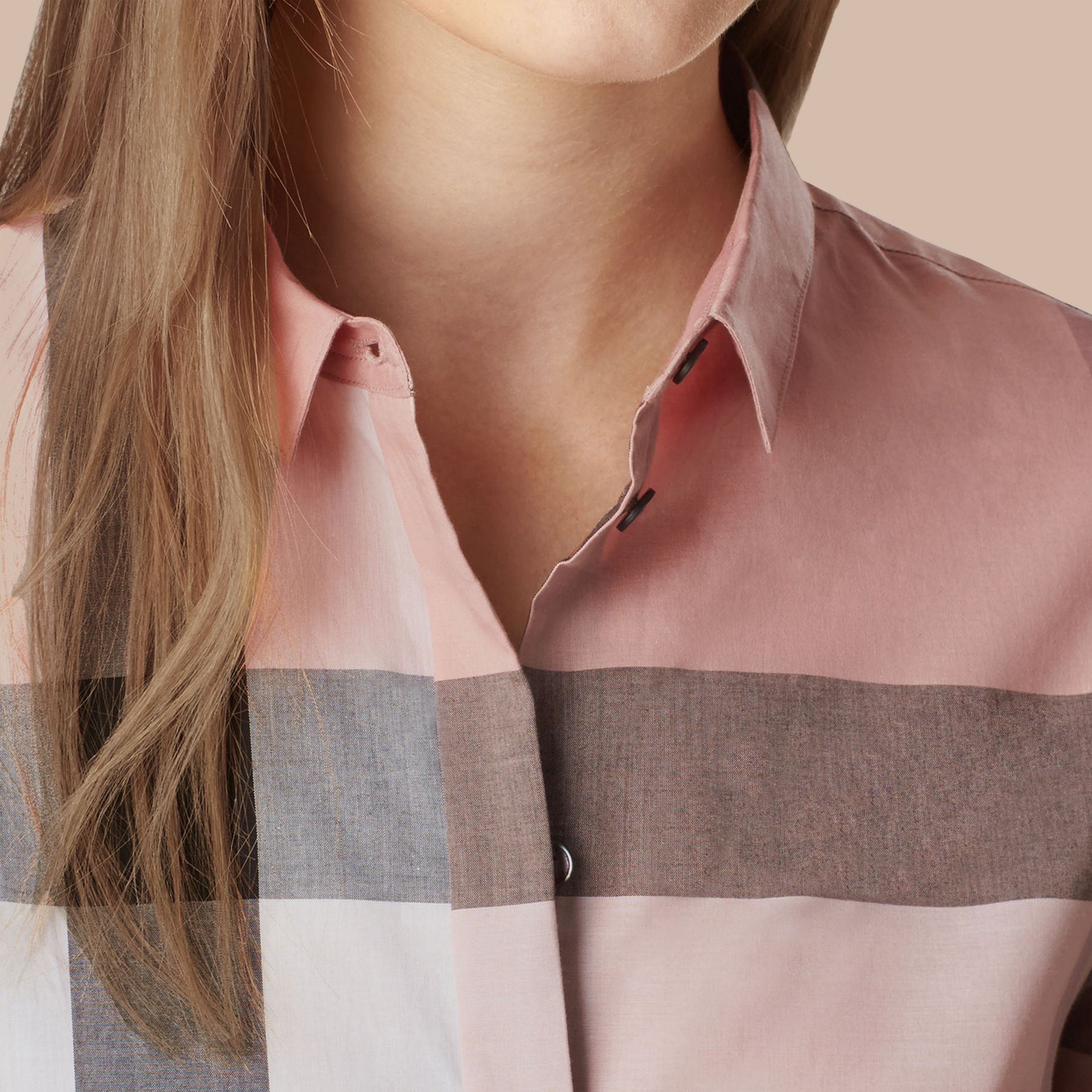 Check Cotton Shirt in Antique Pink - gallery image 2