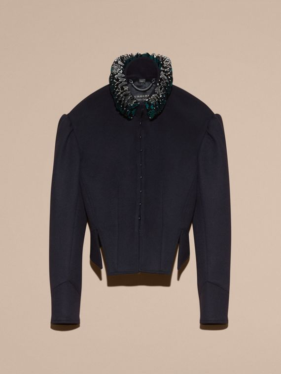 Dark navy Puff Sleeve Wool Jacket with Snakeskin Collar - cell image 3