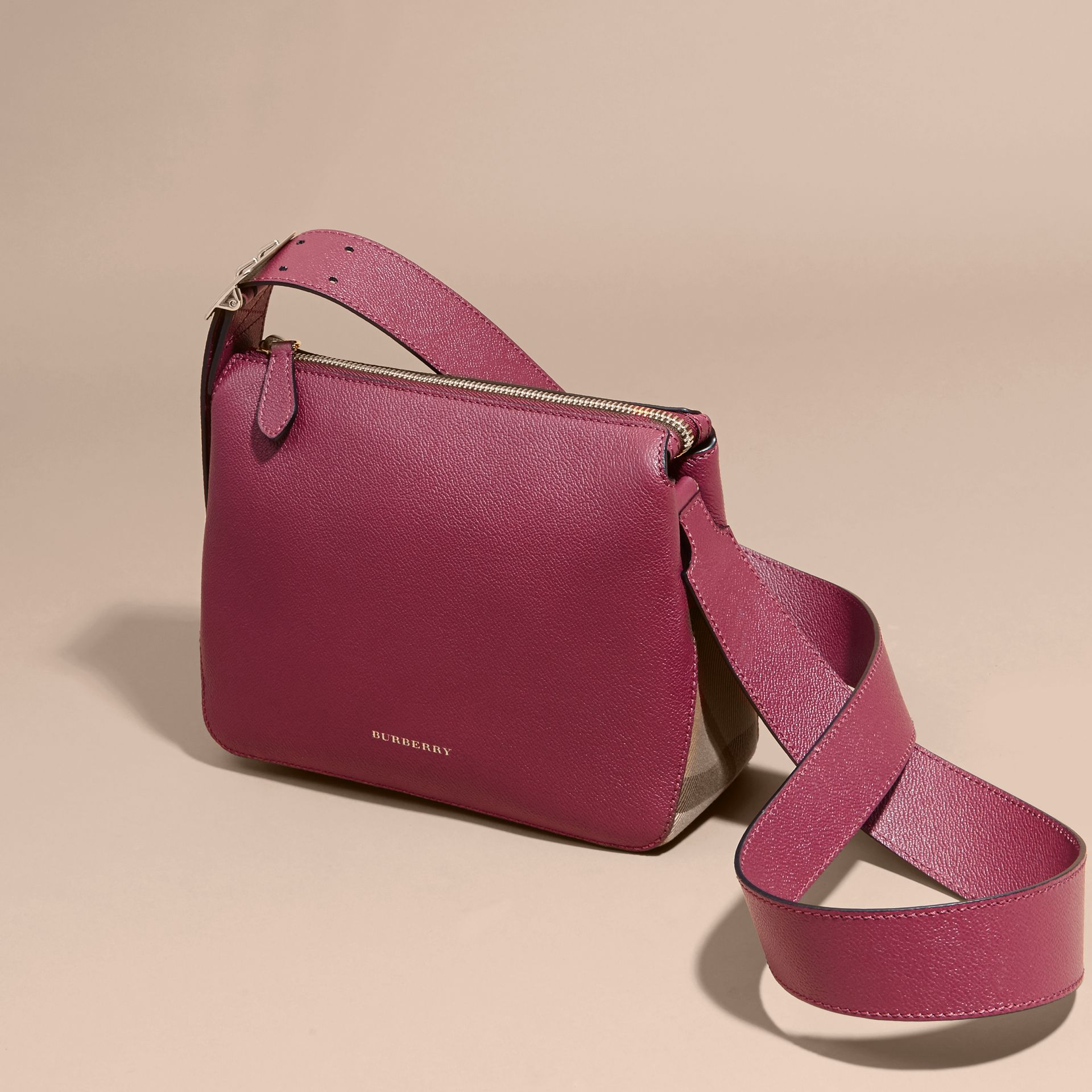 Buckle Detail Leather and House Check Crossbody Bag in Dark Plum - Women | Burberry - gallery image 7