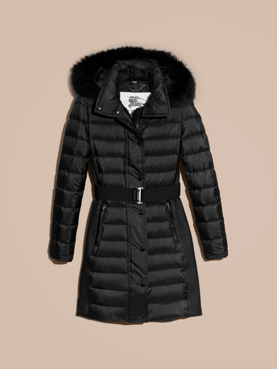 Black Down-filled Coat with Fur-trimmed Hood Black - cell image 3