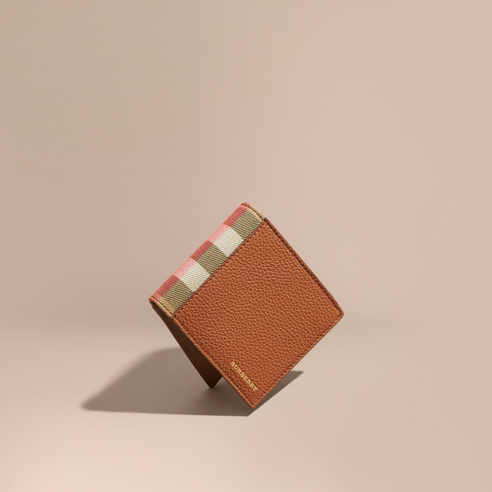 Leather and House Check Folding Wallet Russet - gallery image 1