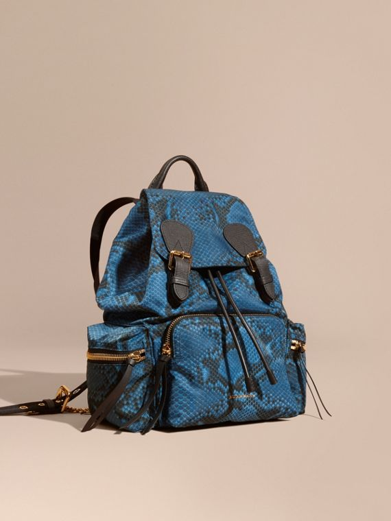 The Medium Rucksack in Python Print Nylon and Leather Blue