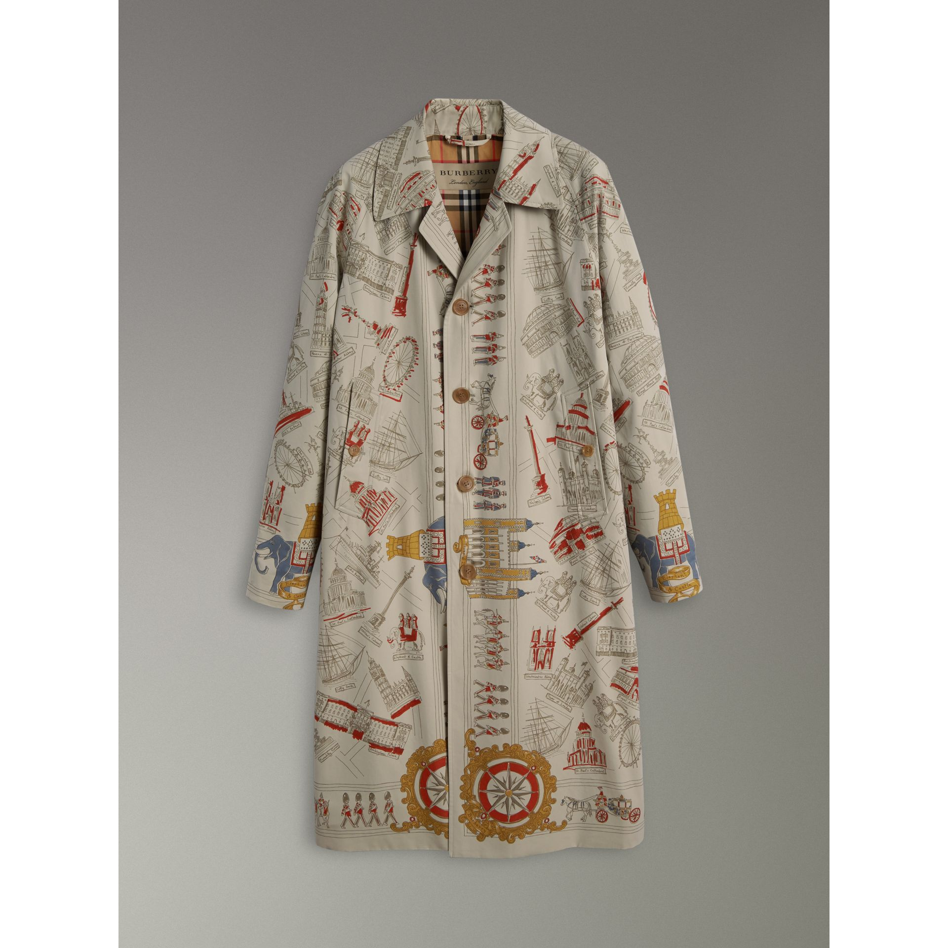 London Sketch Print Car Coat in Stone - Men | Burberry United Kingdom - gallery image 3