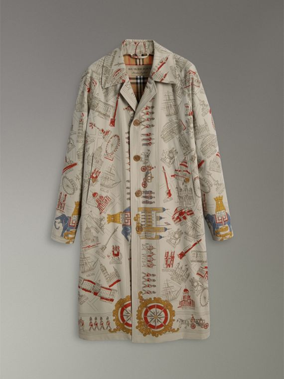 London Sketch Print Car Coat in Stone - Men | Burberry United Kingdom - cell image 3