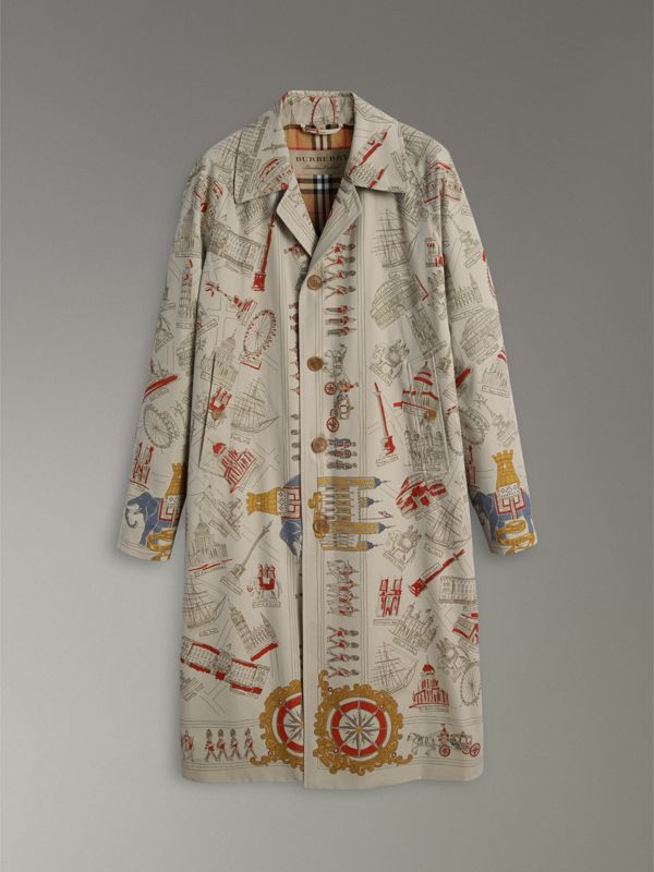 London Sketch Print Car Coat in Stone - Men | Burberry - cell image 3