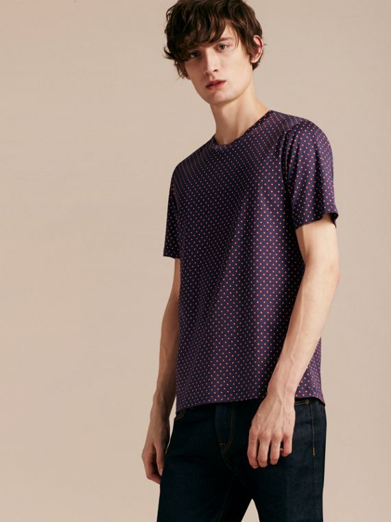 Navy intenso T-shirt in cotone con stampa geometrica - cell image 2