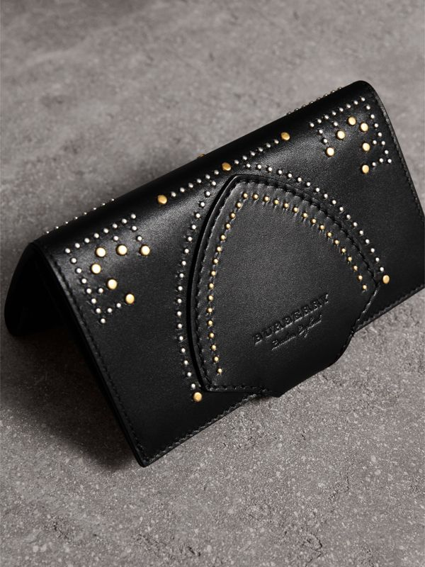 Riveted Equestrian Shield Leather Continental Wallet in Black - Women | Burberry - cell image 2