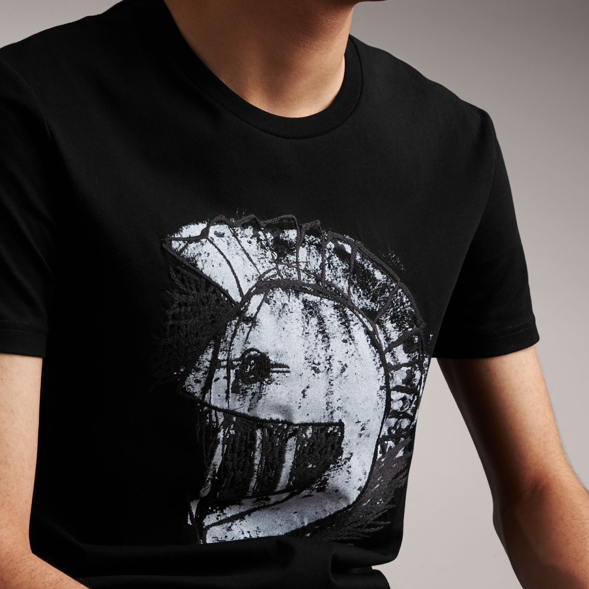 Pallas Helmet Print Cotton T-shirt - Men | Burberry - gallery image 5