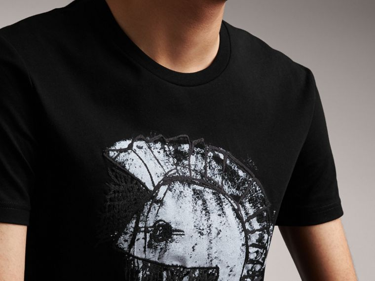 Pallas Helmet Print Cotton T-shirt - Men | Burberry - cell image 4