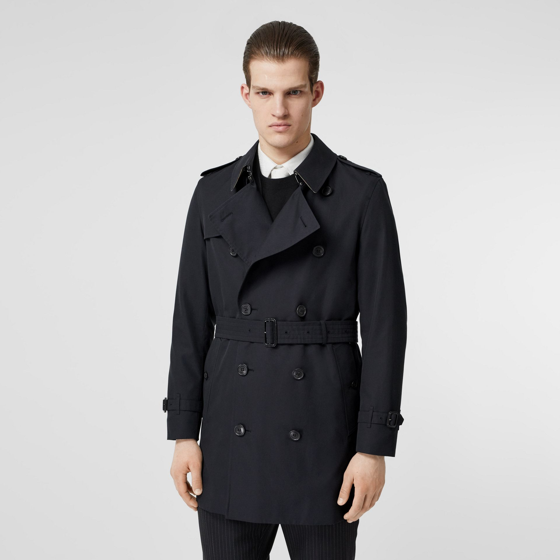 Cotton Gabardine Trench Coat in Midnight Navy - Men | Burberry - gallery image 7