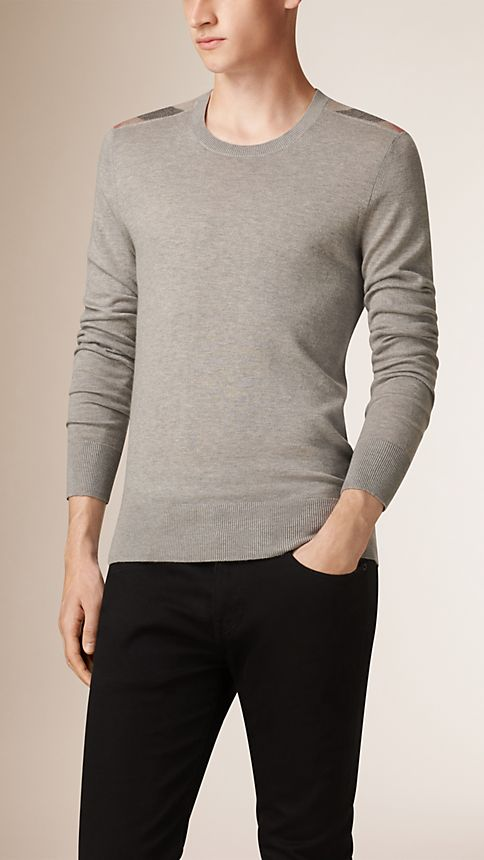 Pale grey melange Check Detail Cotton Cashmere Sweater - Image 1