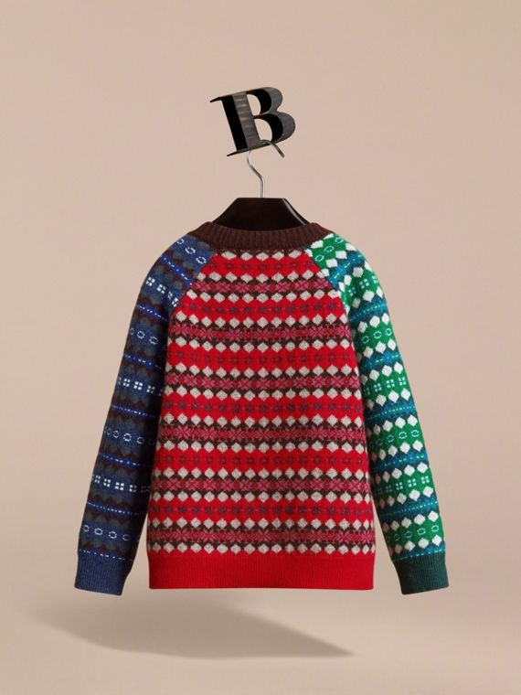 Colour Block Fair Isle Wool Cashmere Sweater in Rosewood - Boy | Burberry - cell image 3