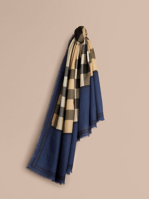 Contrast Border Horseferry Check Cashmere Scarf Indigo Blue