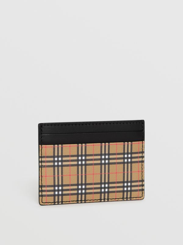 Vintage Check and Leather Card Case in Antique Yellow/black - Men | Burberry Canada - cell image 3