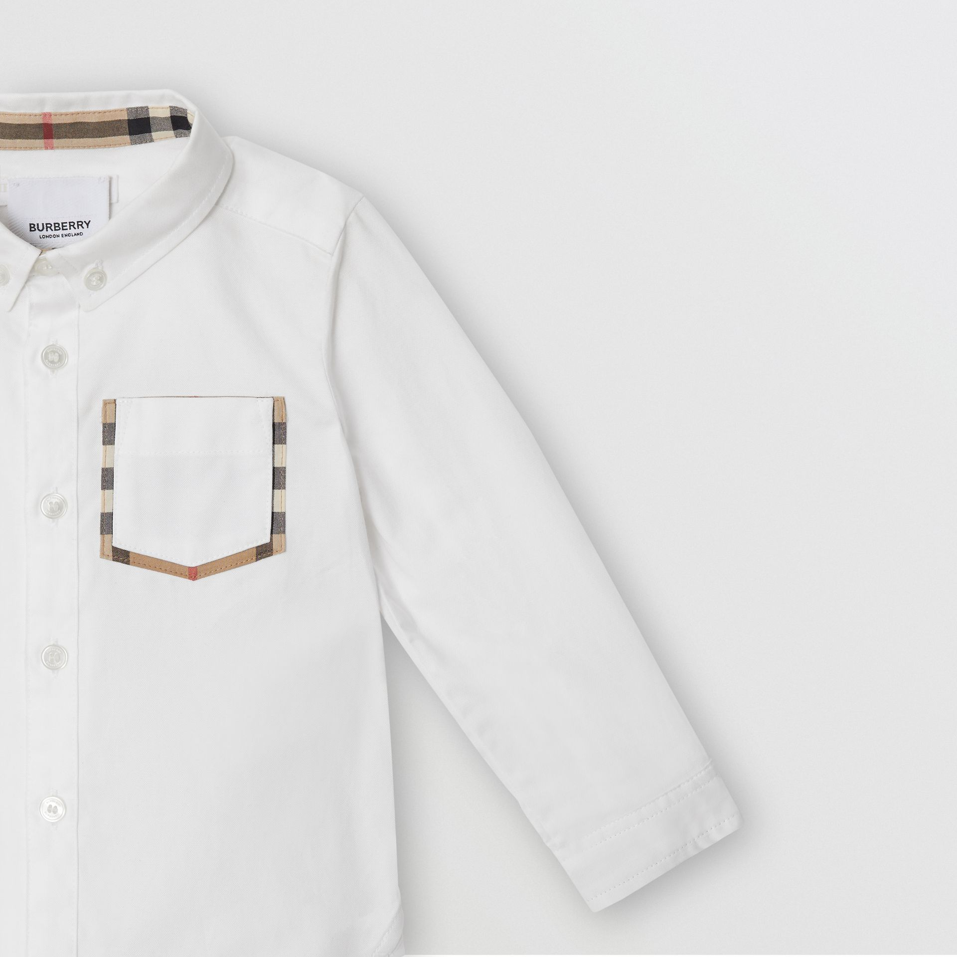 Vintage Check Detail Cotton Oxford Shirt in White - Children | Burberry - gallery image 4