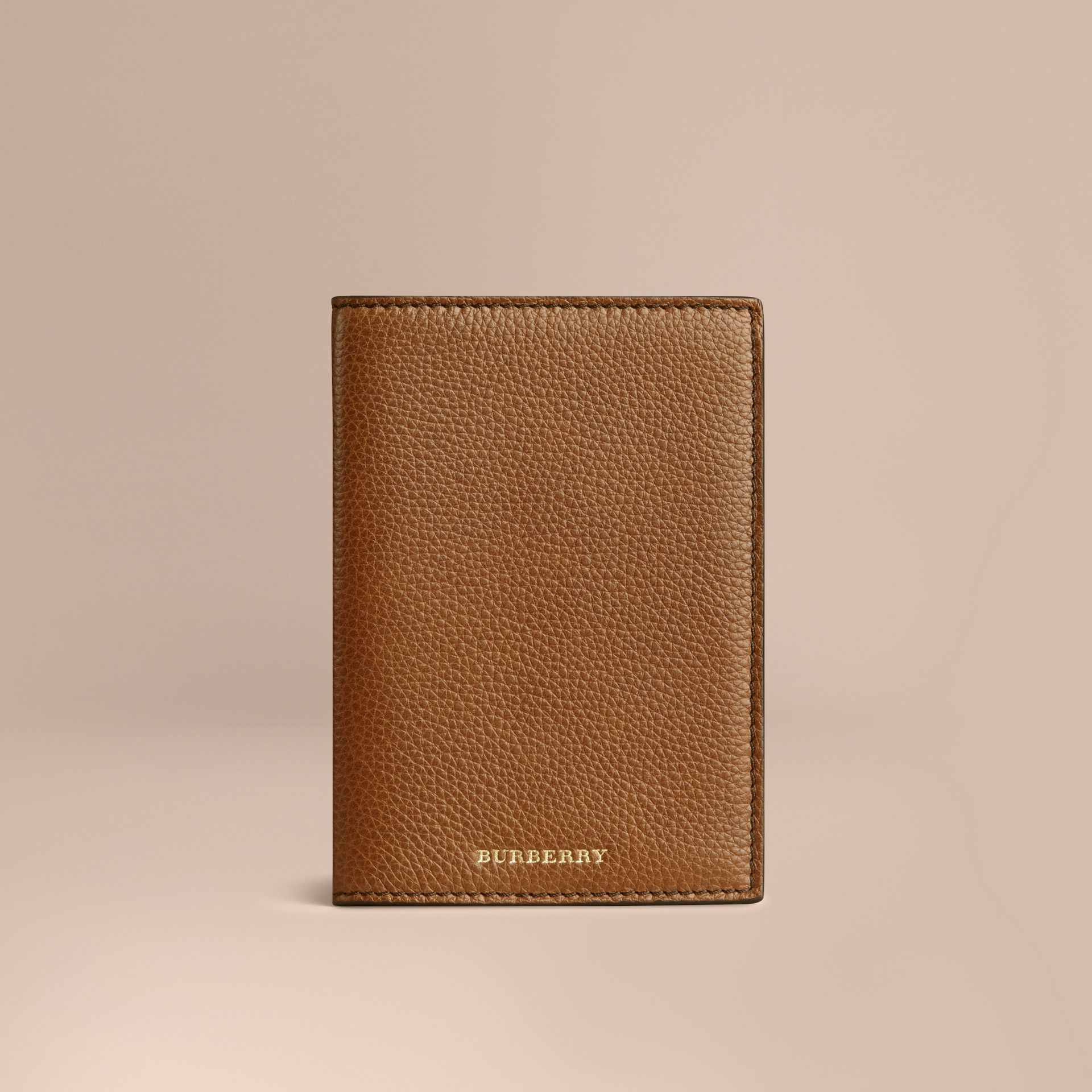 Grainy Leather Passport Cover in Tan | Burberry - gallery image 1