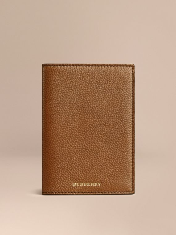 Grainy Leather Passport Cover in Tan
