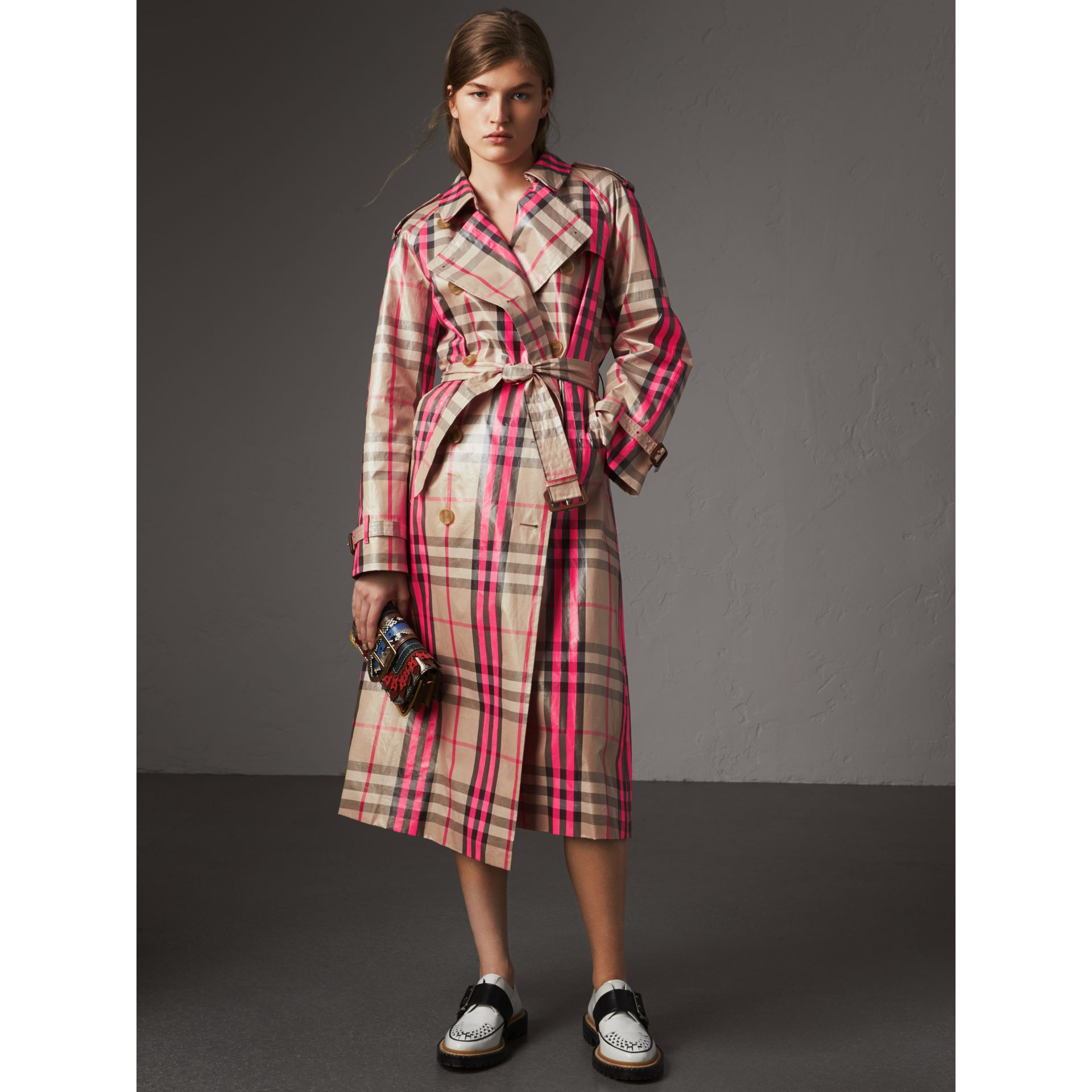 Laminated Check Trench Coat in Neon Pink - Women | Burberry - gallery image 0