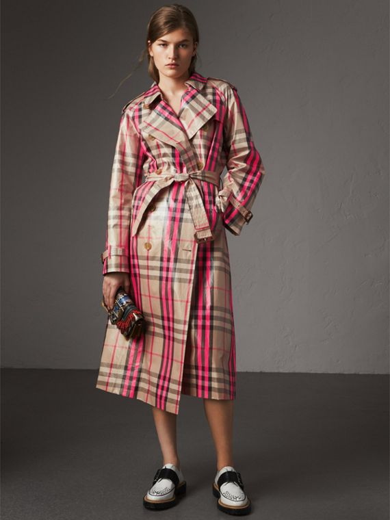 Laminated Check Trench Coat in Neon Pink