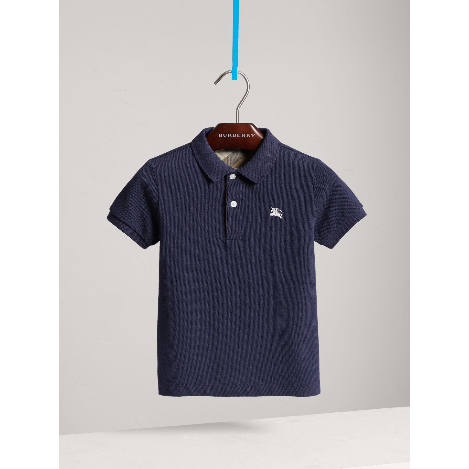 Check Placket Polo Shirt in True Navy - Boy | Burberry - gallery image 3