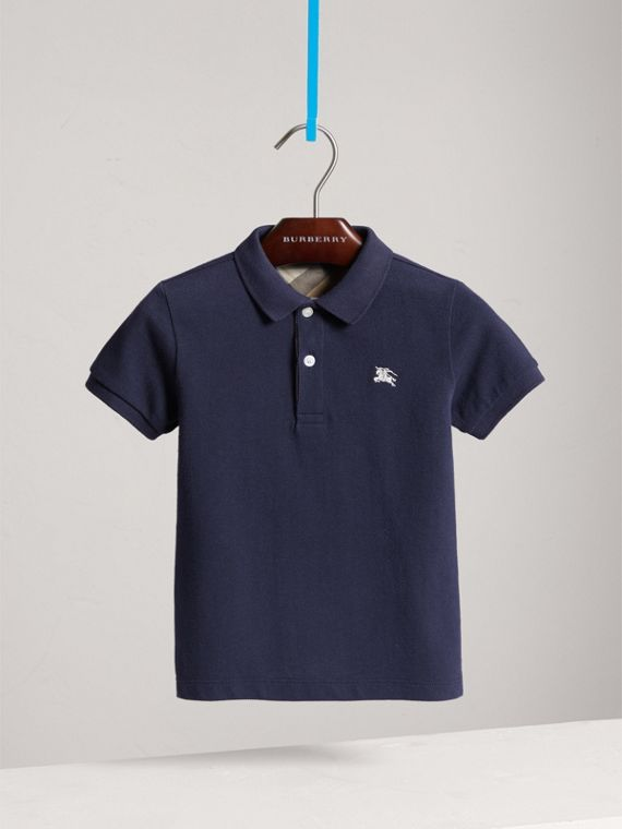 Check Placket Polo Shirt in True Navy - Boy | Burberry - cell image 2