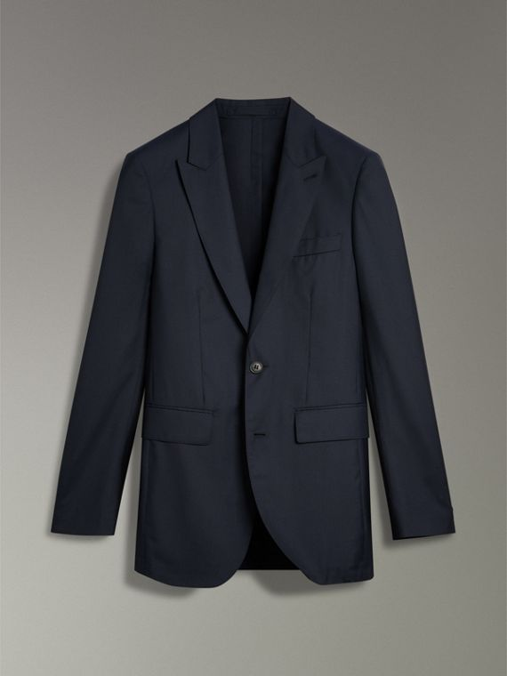 Slim Fit Three-piece Wool Silk Evening Suit in Navy - Men | Burberry - cell image 2