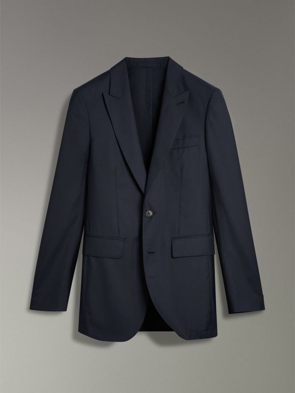 Slim Fit Wool Silk Three-piece Evening Suit in Navy - Men | Burberry Australia - cell image 2