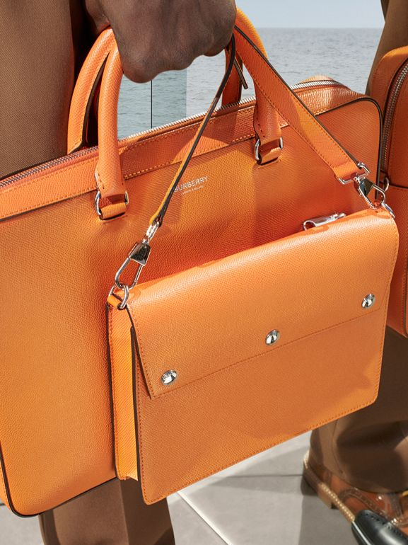 Grainy Leather Briefcase in Bright Orange - Men | Burberry - cell image 1
