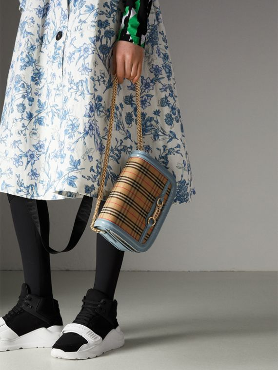 The 1983 Check Link Bag with Patent Trim in Blue Sage - Women | Burberry Canada - cell image 3