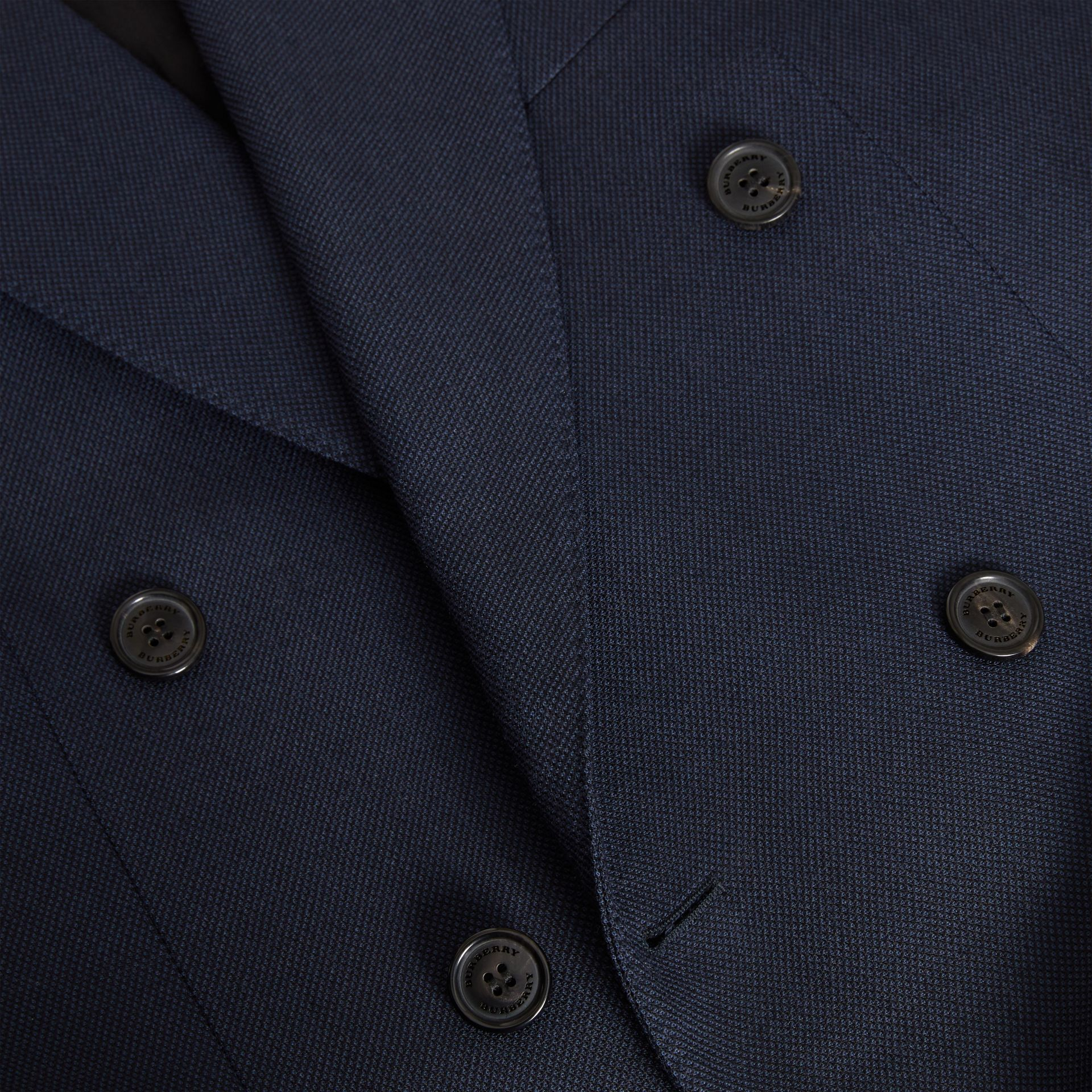 English Fit Birdseye Wool Cashmere Suit in Navy Blue | Burberry United Kingdom - gallery image 6