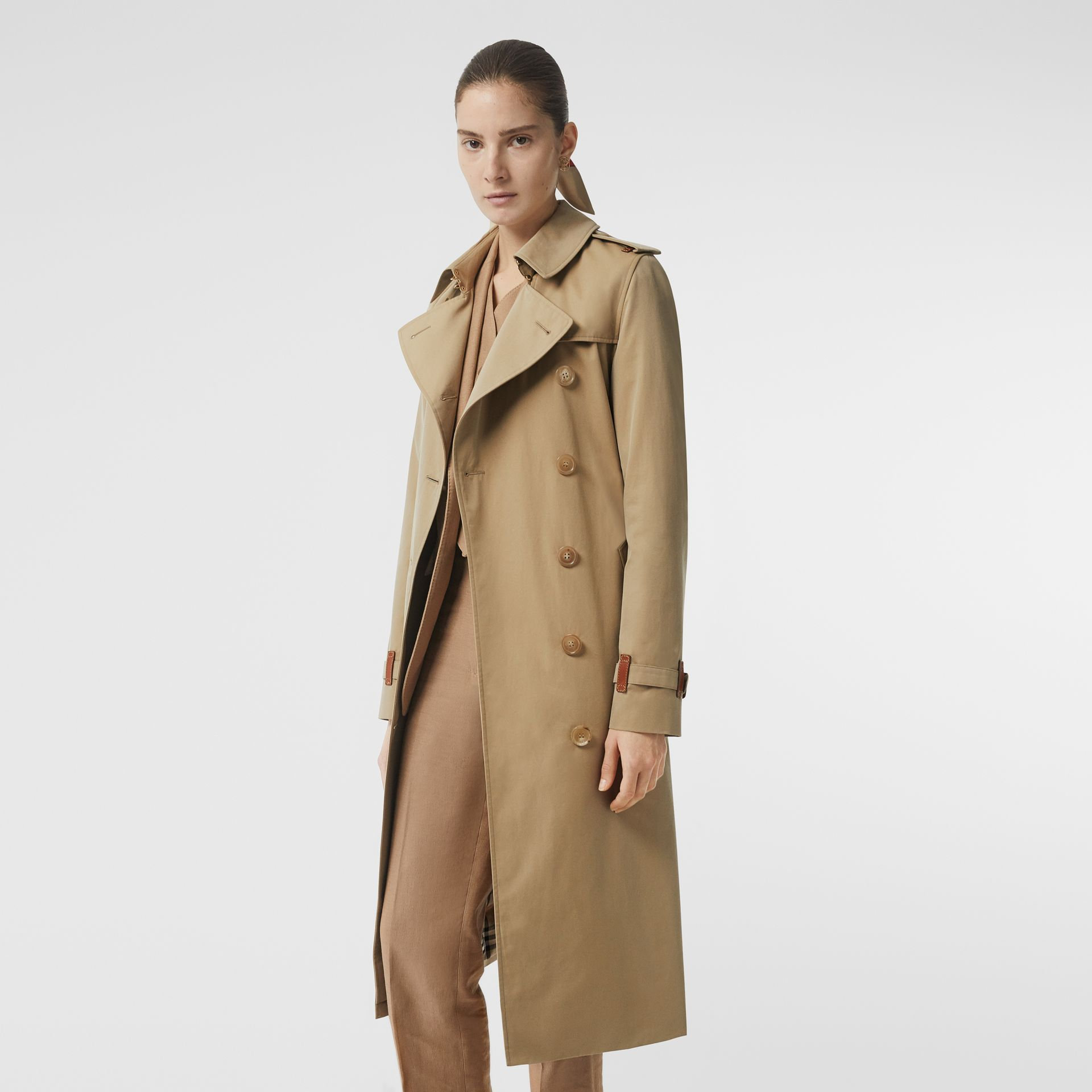 Leather Detail Cotton Gabardine Trench Coat in Honey - Women | Burberry - gallery image 5