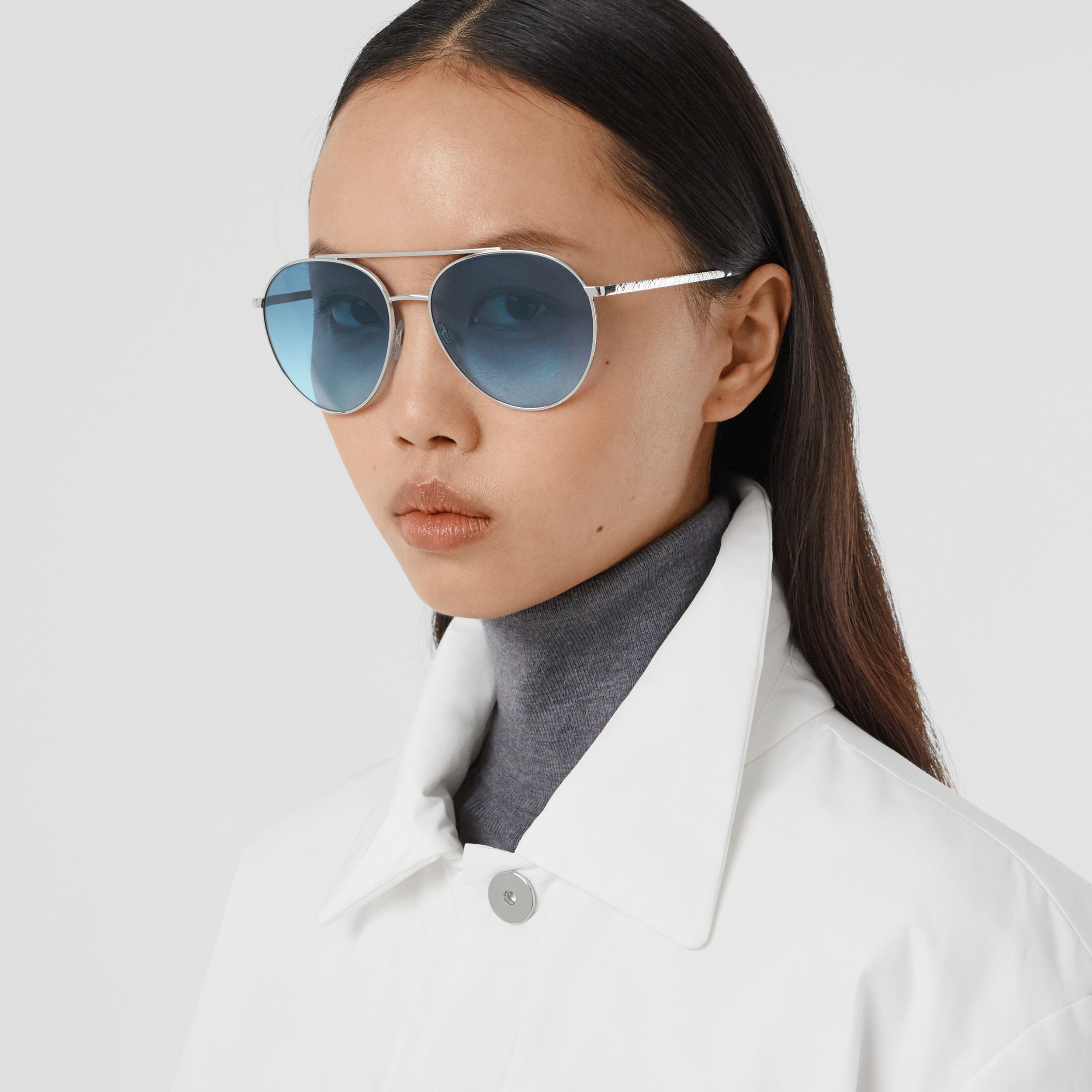 Pilot Sunglasses in Pale Blue - Women | Burberry United States - 3