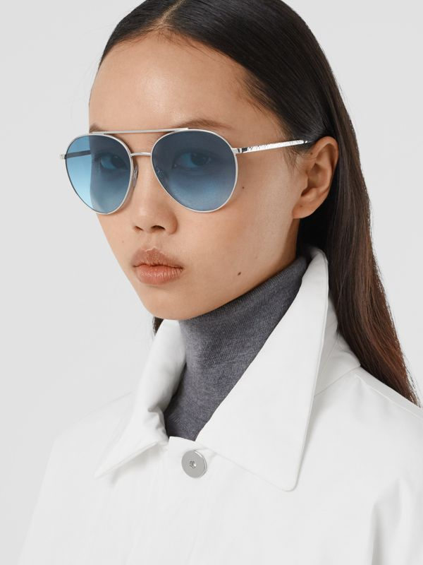 Pilot Sunglasses in Pale Blue - Women | Burberry - cell image 2