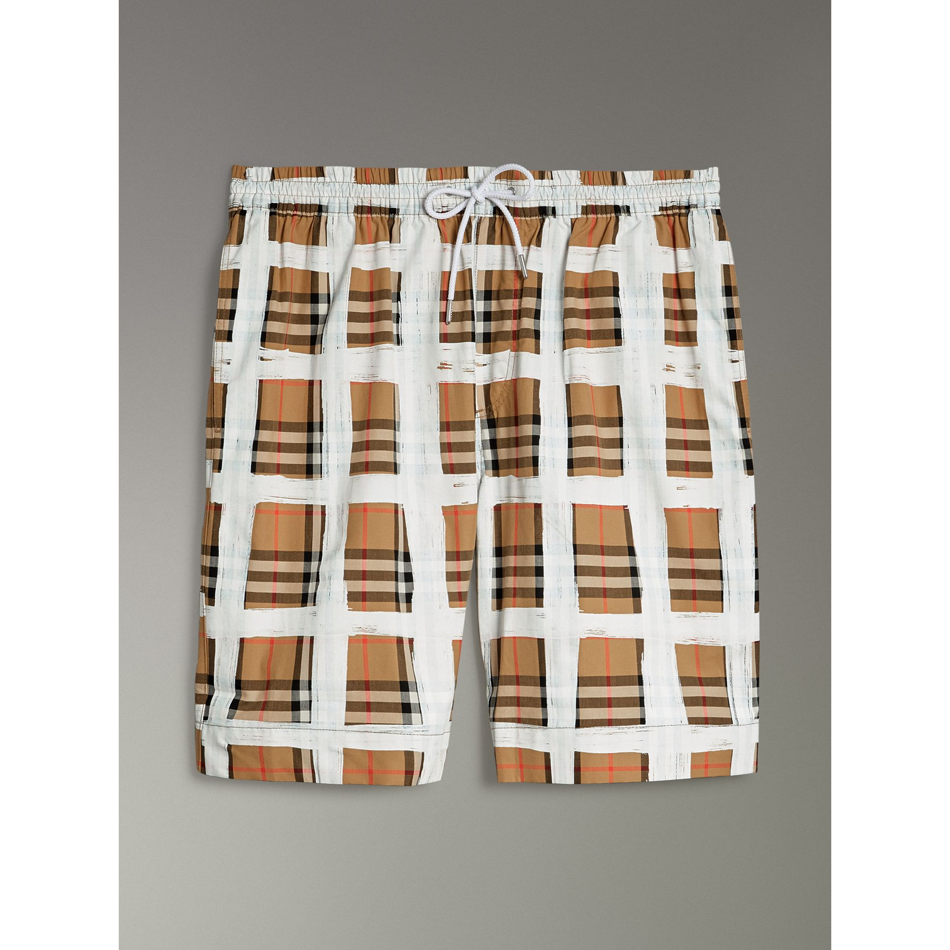 Painted Vintage Check Cotton Drawcord Shorts in Antique Yellow - Men | Burberry - gallery image 3