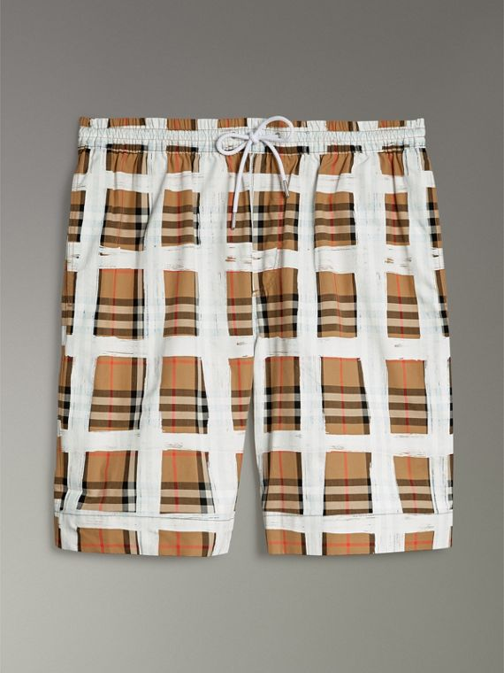 Painted Vintage Check Cotton Drawcord Shorts in Antique Yellow - Men | Burberry Hong Kong - cell image 3