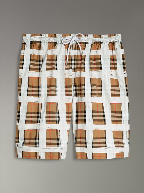 Painted Vintage Check Cotton Drawcord Shorts in Antique Yellow - Men | Burberry - cell image 3