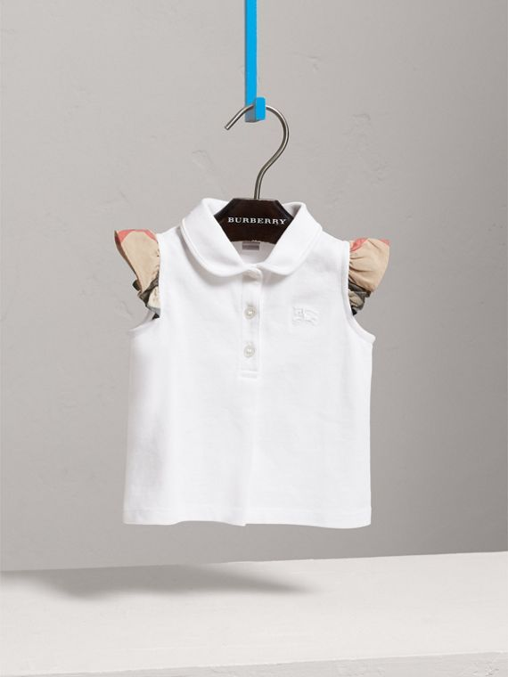 Flutter-sleeve Cotton Piqué Polo Shirt in White