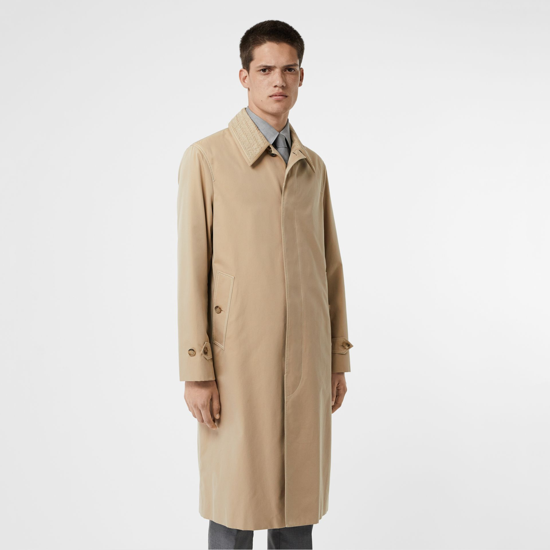 Linen Collar Button Panel Cotton Car Coat in Honey | Burberry - gallery image 6