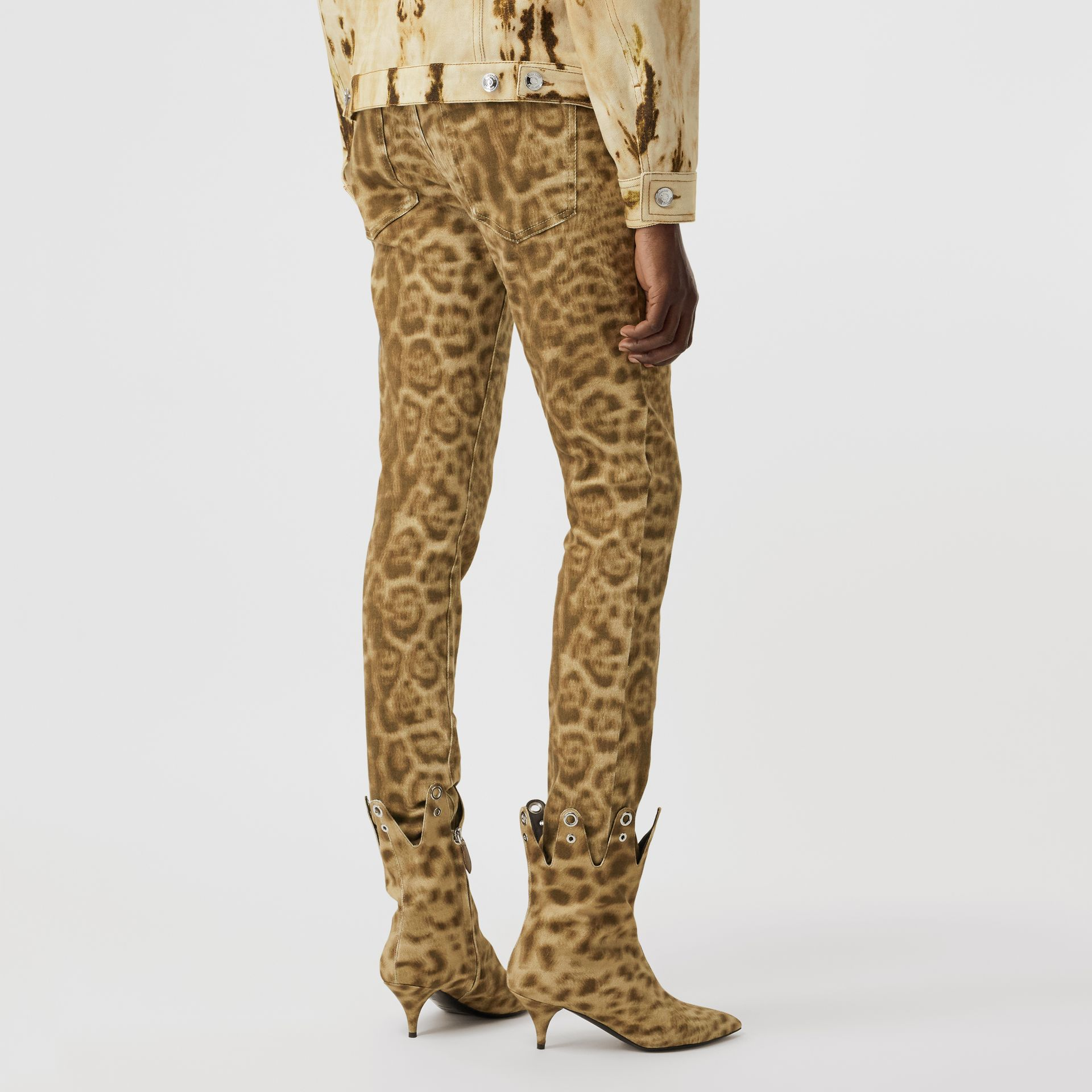 Straight Fit Leopard Print Japanese Denim Jeans in Beige - Women | Burberry - gallery image 1
