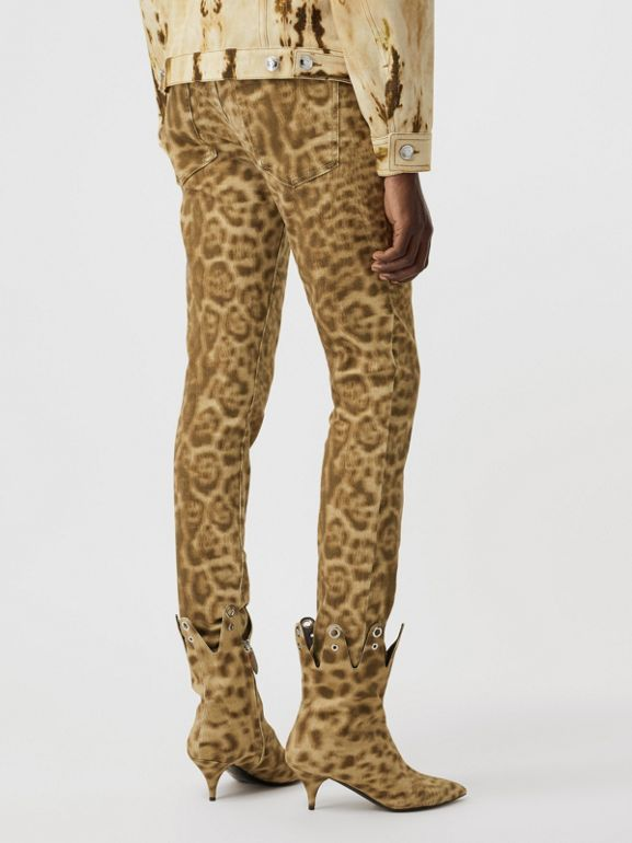 Straight Fit Leopard Print Japanese Denim Jeans in Beige - Women | Burberry Canada - cell image 1