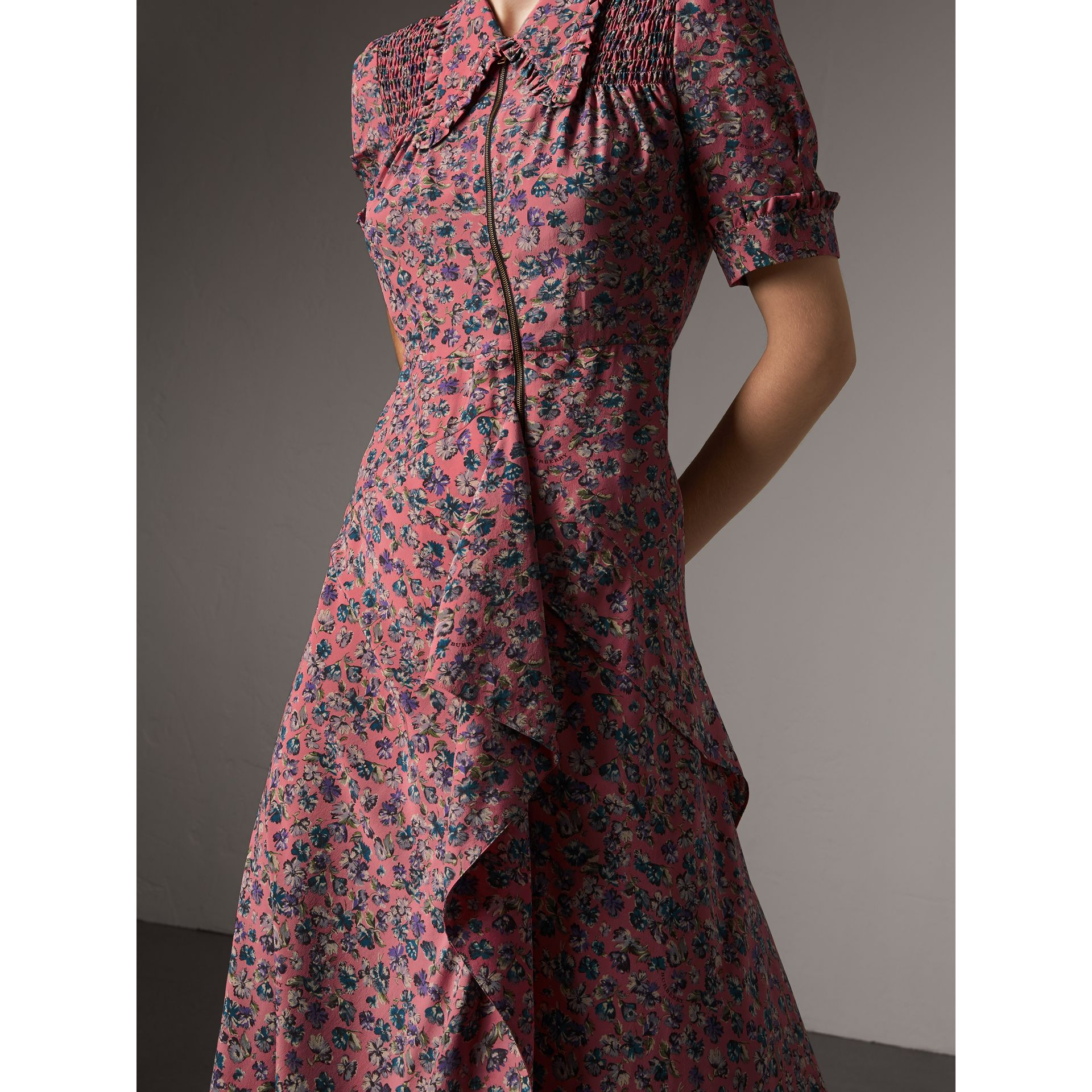 Floral Silk Tea Dress in Pale Rose - Women | Burberry - gallery image 5