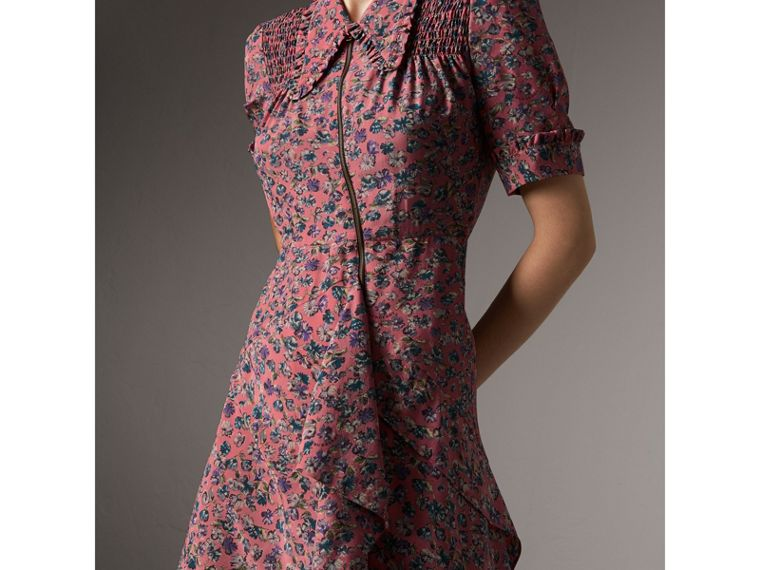 Floral Silk Tea Dress in Pale Rose - Women | Burberry - cell image 4