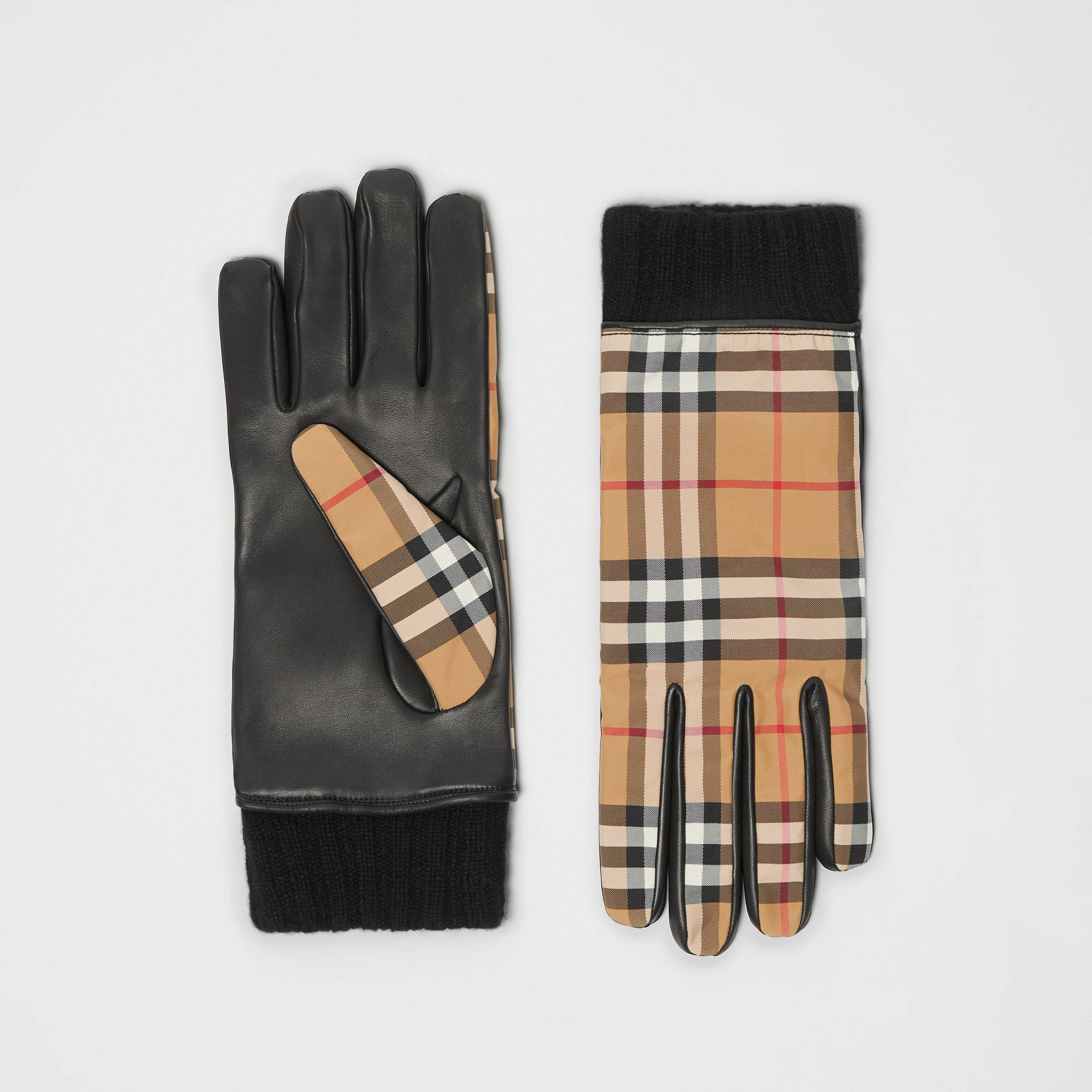 Cashmere-lined Vintage Check and Lambskin Gloves in Antique Yellow/black | Burberry - gallery image 0