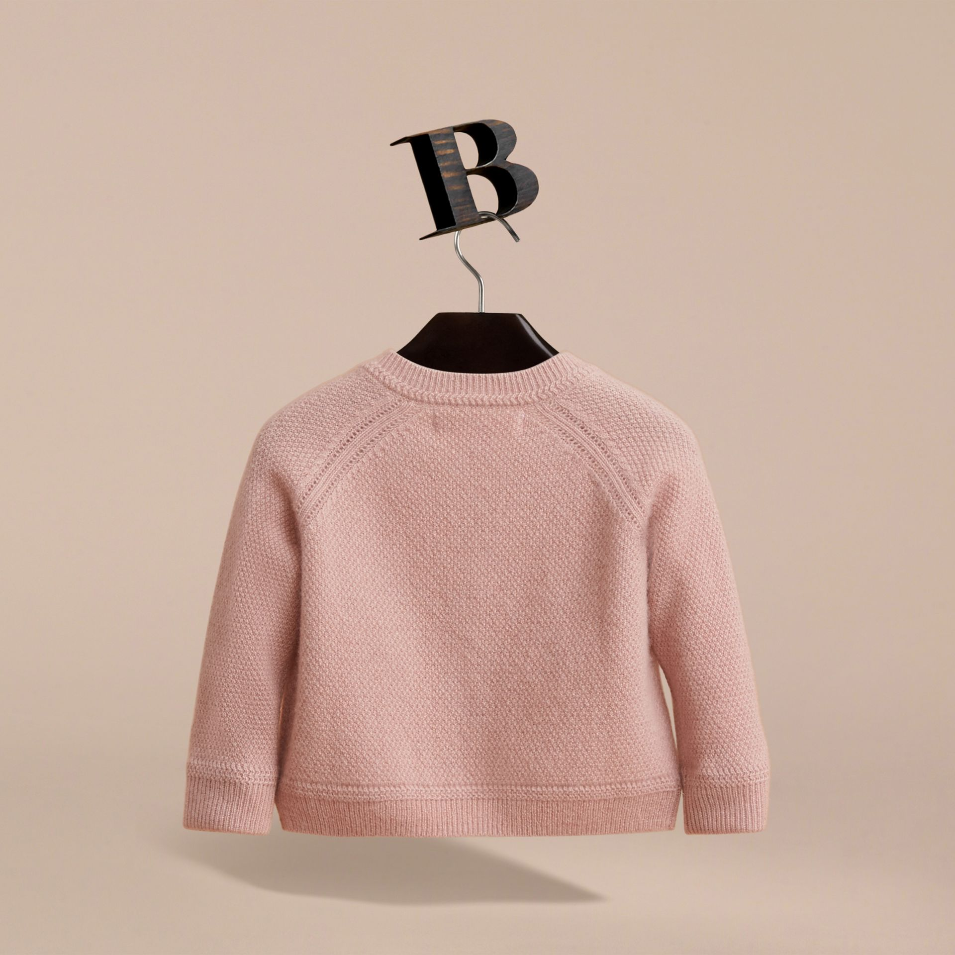 Textured Knit Cashmere Cardigan in Dusty Pink | Burberry - gallery image 3