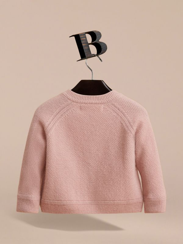 Textured Knit Cashmere Cardigan in Dusty Pink | Burberry - cell image 3