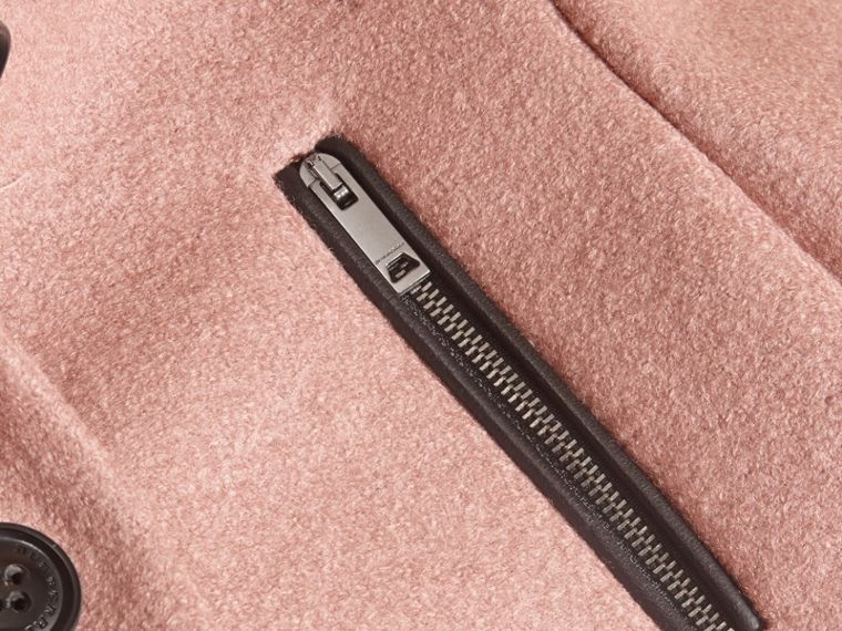 Zip Detail Wool Coat in Pale Ash Rose - cell image 1
