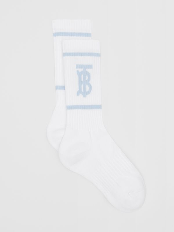 Monogram Motif Intarsia Socks in White/pale Blue | Burberry United Kingdom - cell image 2