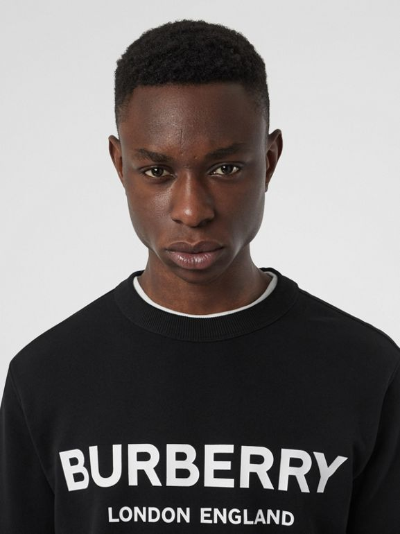 Logo Print Cotton Sweatshirt in Black - Men | Burberry - cell image 1