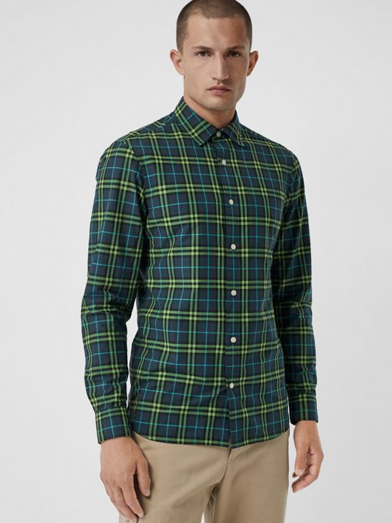 格紋棉質襯衫 (暗藍灰色)